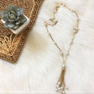 Vintage Golden Necklace with Pearl Tassel